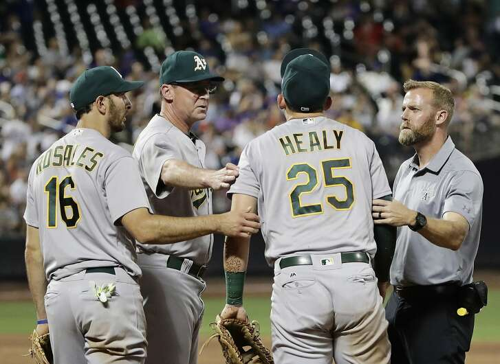 Oakland Athletics' Adam Rosales (16) and manager Bob Melvin, second from left, join a trainer in helping Ryon Healy (25) up after Healy was hurt during the sixth inning of an interleague baseball game against the New York Mets, Friday, July 21, 2017, in New York. (AP Photo/Frank Franklin II)