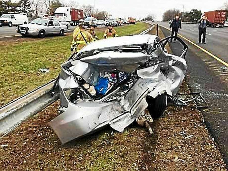 (Photo courtesy of the North Haven Professional Fire Fighters Association Local 2987). A crash that involved three vehicles briefly tied up traffic Thursday on Interstate 91 northbound in North Haven. Photo: Journal Register Co.