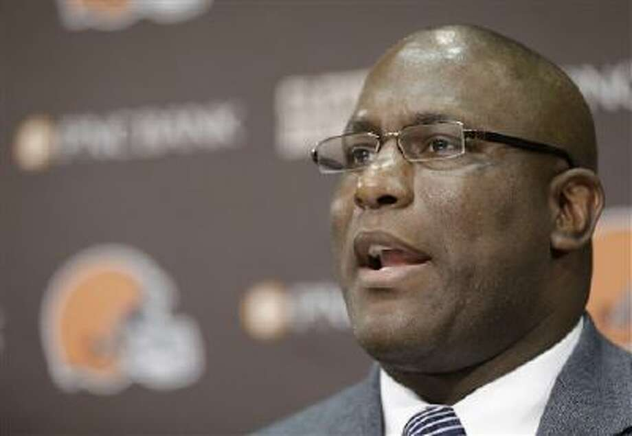 Cleveland Browns general manager Ray Farmer answers questions during a news conference Tuesday in Berea, Ohio. Farmer, who was pursued by Miami to be the Dolphins' GM this winter, has been promoted and will immediately take over the team's football operations and lead the Browns during free agency and draft. Cleveland has two first-round picks in May's draft and is well under the salary cap to spend on free agents. Photo: AP / AP