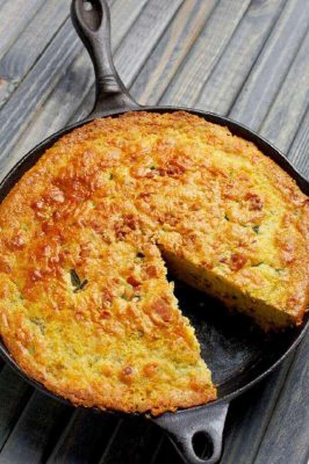 Poblano, Bacon and Cheddar Skillet Corn Bread.