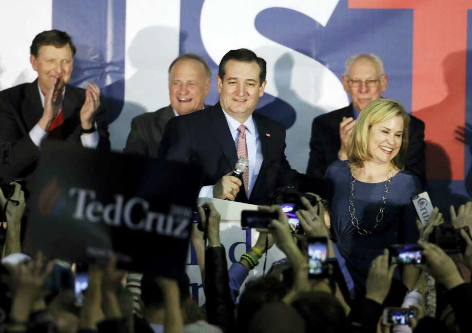 Republican presidential candidate Sen. Ted Cruz, R-Texas, speaks during a caucus night rally Monday in Des Moines, Iowa. Photo: Chris Carlson — The Associated Press  / AP