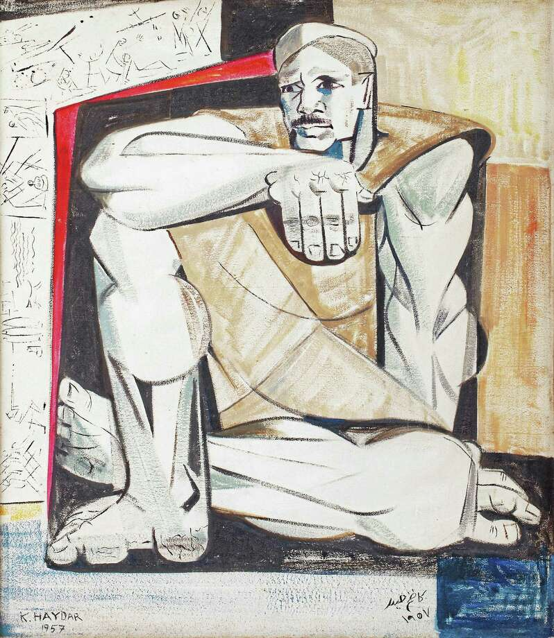 "Yale Art Gallery MIDEAST ART: Iraqi Mahmoud Sabri's untitled 1950 oil on canvas, from the collection of the Barjeel Art Foundation in the United Arab Emirates, is part of the new exhibition ""Modern Art from the Middle East"" at Yale University Art Gallery through July 16. It's part of the campus-wide celebration of the 175th anniversary of Arabic studies at Yale. The works on view highlight the art movements that blossomed in Egypt, Iraq, Lebanon, and Syria in the second half of the 20th century and testify to the emergence of a unique aesthetic in these countries. Photo: Digital First Media"