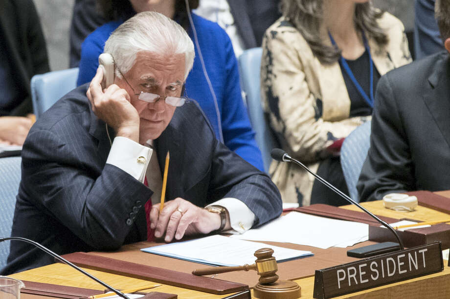 U.S. Secretary of State Rex Tillerson listens to the debate during a Ministerial level Security Council meeting on the situation in North Korea, Friday, April 28, 2017 at United Nations headquarters. (AP Photo/Mary Altaffer) Photo: AP / Copyright 2017 The Associated Press. All rights reserved.
