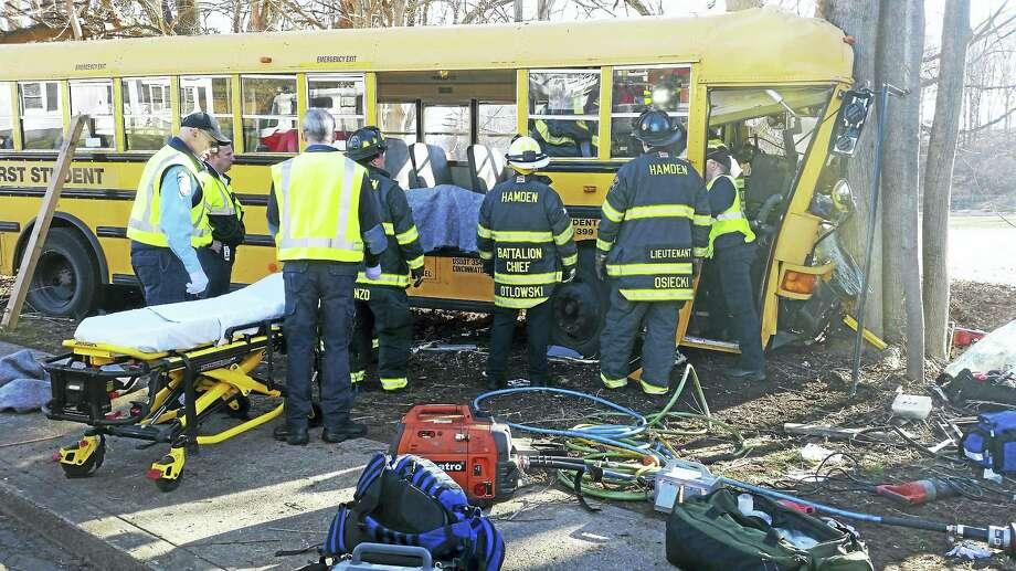(Photo courtesy of the Hamden Fire Department) The scene of a school bus crash Wednesday morning on Brook Street in Hamden. Photo: Journal Register Co.