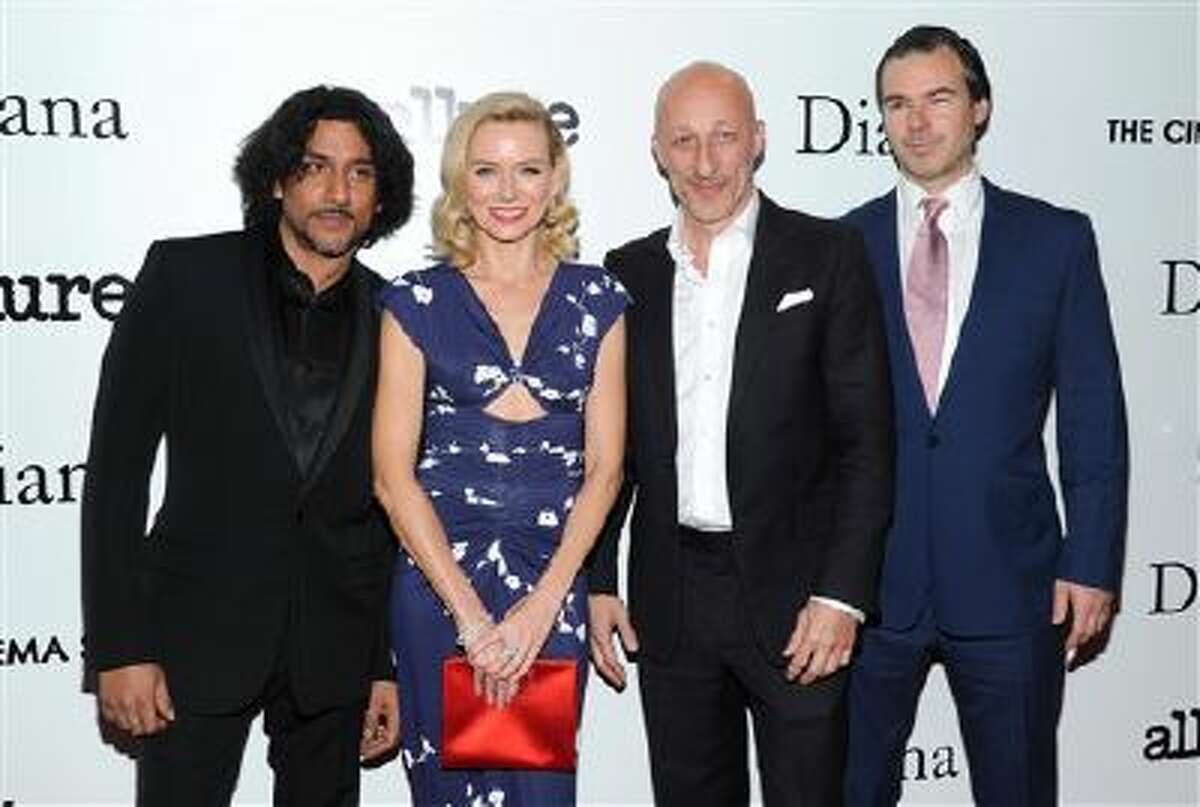 """Actor Naveen Andrews, from left, actress Naomi Watts, director Oliver Hirschbiegel and producer Robert Bernstein, right, attend the premiere of """"Diana"""" hosted by The Cinema Society, Linda Wells and Allure Magazine at the SVA Theater on Wednesday, Oct. 30, 2013 in New York."""