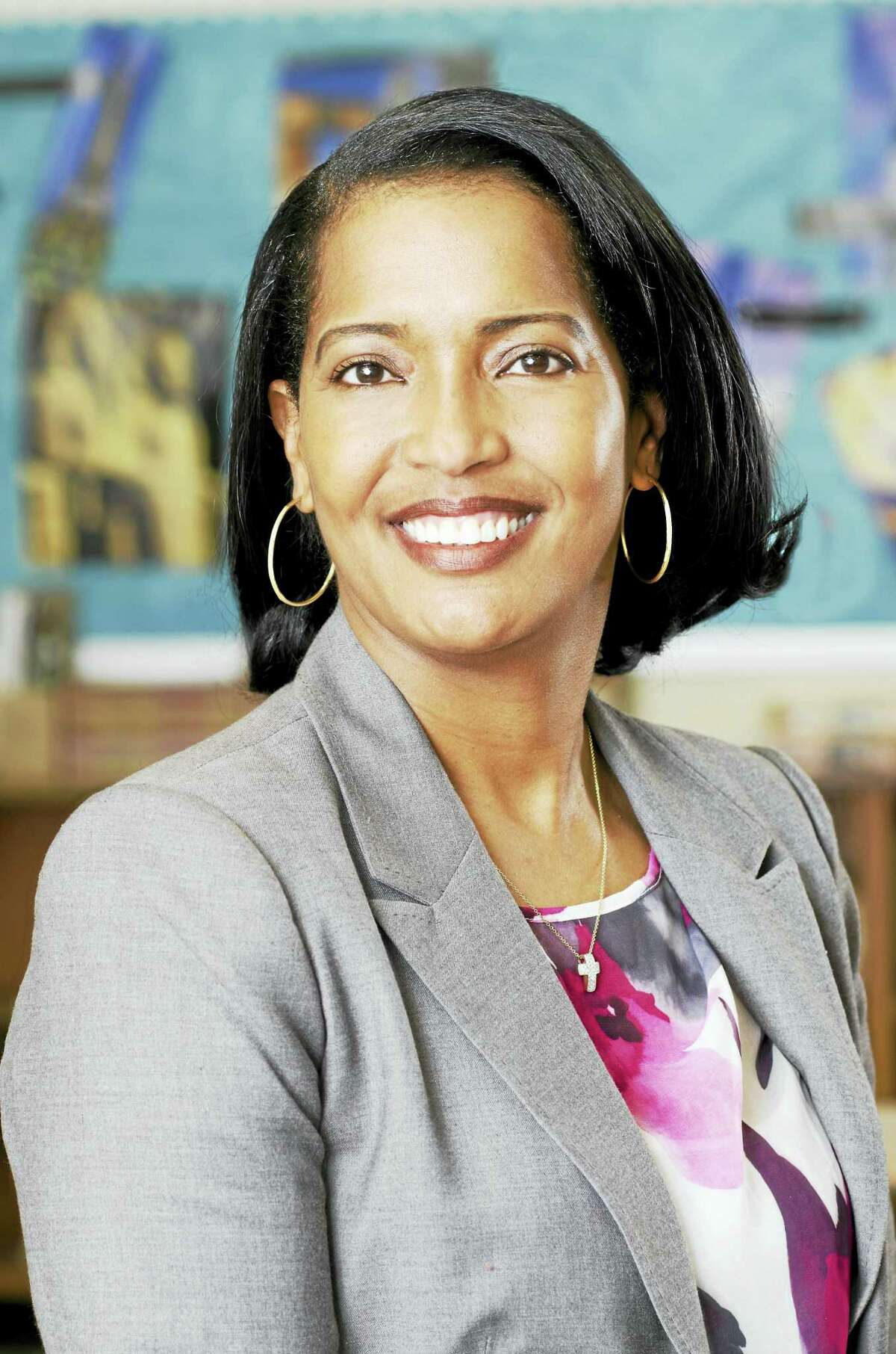The Council of Chief State School Officers named Jahana Hayes as National Teacher of the Year on Thursday, April 28, 2016. Hayes teaches at John F. Kennedy High School in Waterbury and previously taught at James Hillhouse High School in New Haven. (Photo courtesy of Waterbury Public Schools)