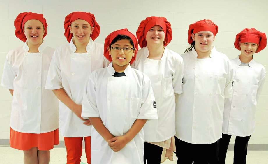 (Peter Hvizdak - New Haven Register) Seymour Middle School 6th-graders  (L-R) Olivia Kick, Kolby Sirowich, Nick Valverde, Elisa Hasaj, Rachel Kramer-Early and Faith Rousseau Wednesday, May 8, 2014 who will be competing in the Valley-wide Healthy Cooking Challenge Contest. Photo: New Haven Register / ©Peter Hvizdak /  New Haven Register