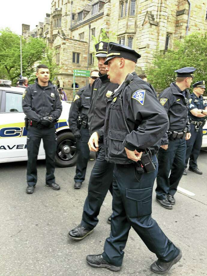 New Haven police presence at York Street where protesters turned on way to Grove StreetMary O'Leary - New Haven Register Photo: Digital First Media