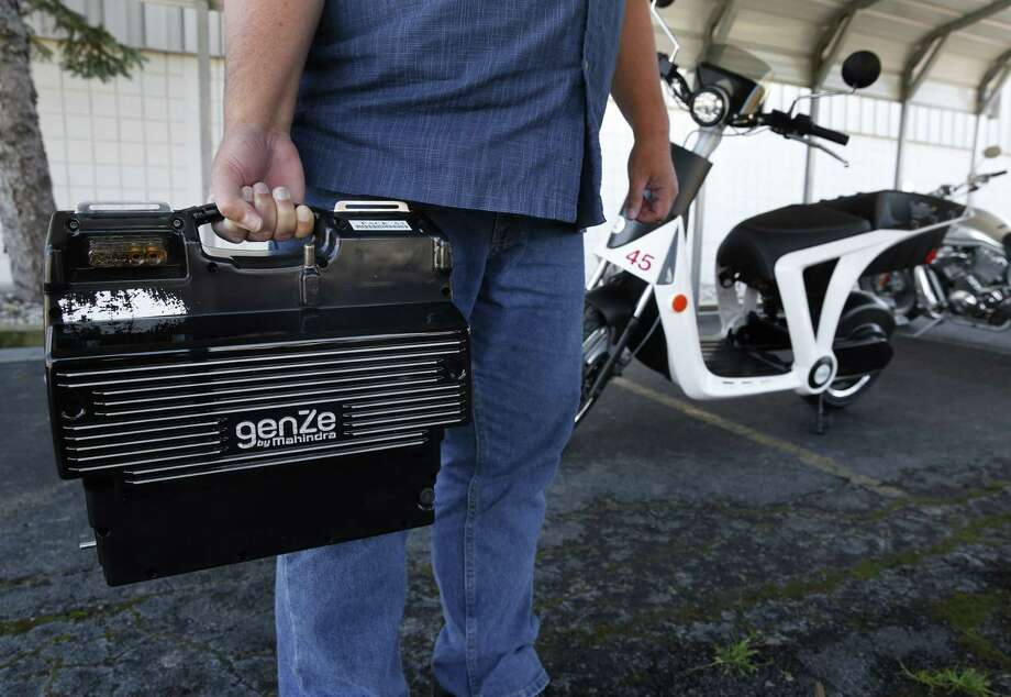 A 28-pound pop-out battery for a Mahindra GenZe 2.0 pre-production prototype at the company's factory in Ann Arbor, Mich. Photo: Paul Sancya — The Associated Press  / AP
