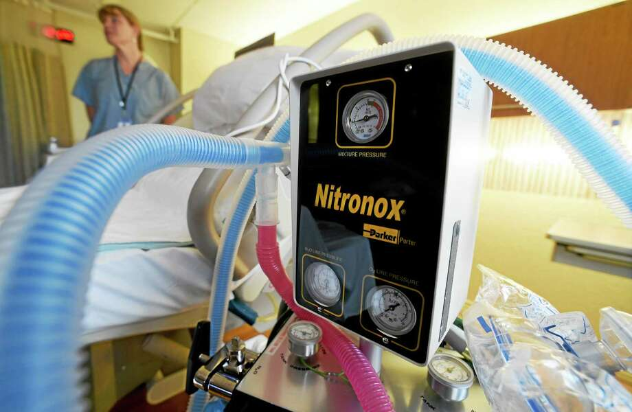 (Peter Hvizdak - New Haven Register)Women giving birth can chose to have a 50/50 mixture of nitrous oxide and oxygen during the delivery process in the Birthing Room at the Vidone Birthing Center at the St. Raphael Campus at Yale-New Haven Hospital Wednesday, October 14, 2015. Photo: ©2015 Peter Hvizdak / ©2015 Peter Hvizdak