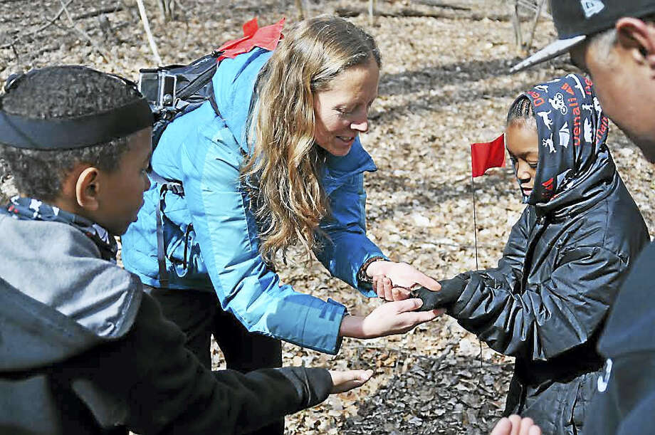 Contributed photo Second-graders on their hike on Wednesday. Photo: Journal Register Co.