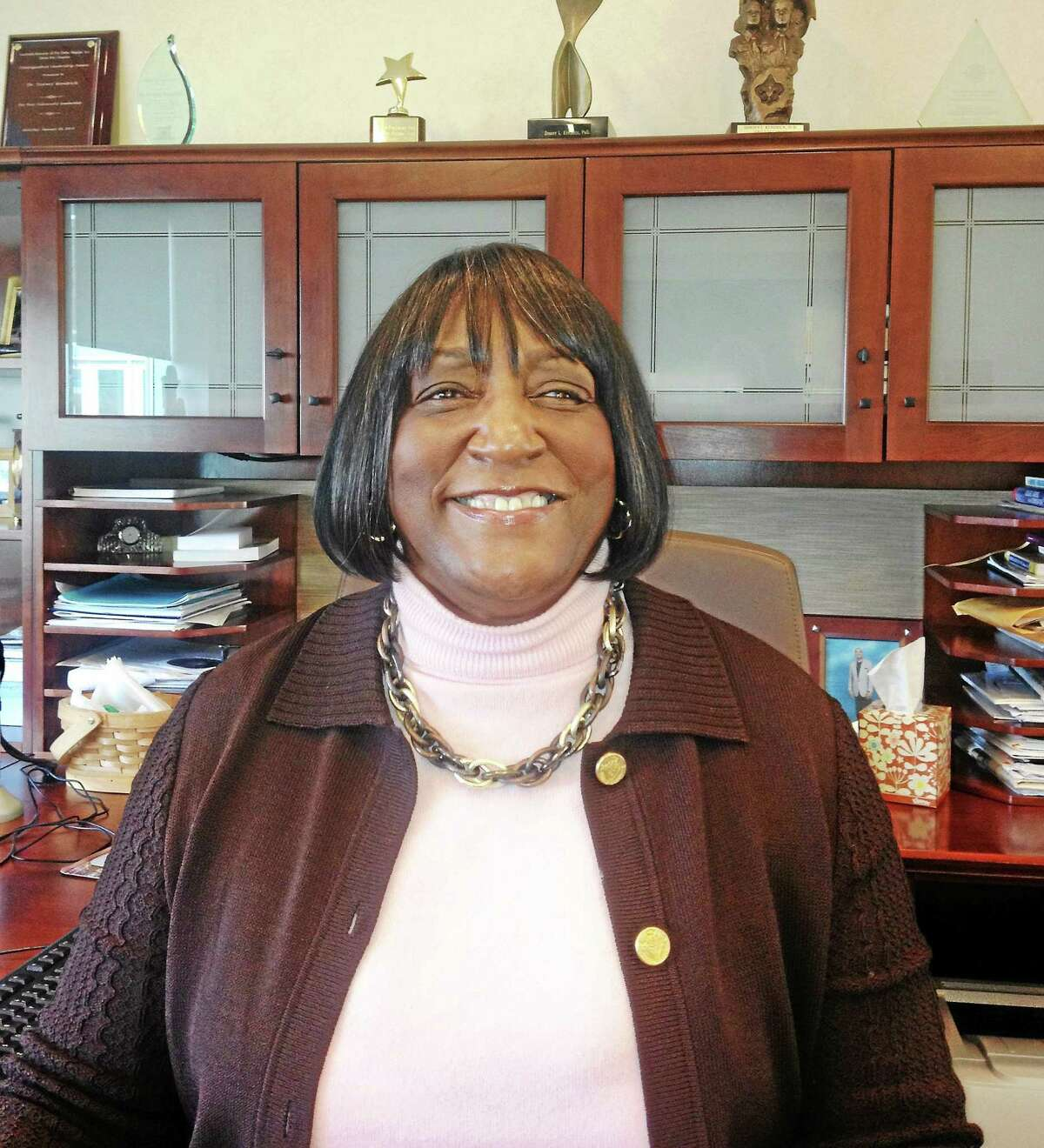 (Mary O'Leary - New Haven Register) Dorsey Kendrick president of Gateway Community College in New Haven