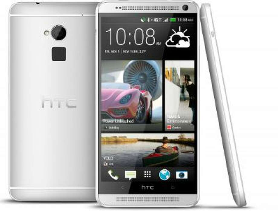 The new HTC One Max phone is seen in an undated photo provided by HTC Corp. The new HTC One Max will have one feature unavailable with the smaller models: a fingerprint identification sensor similar to that on Apple's new iPhone 5S.