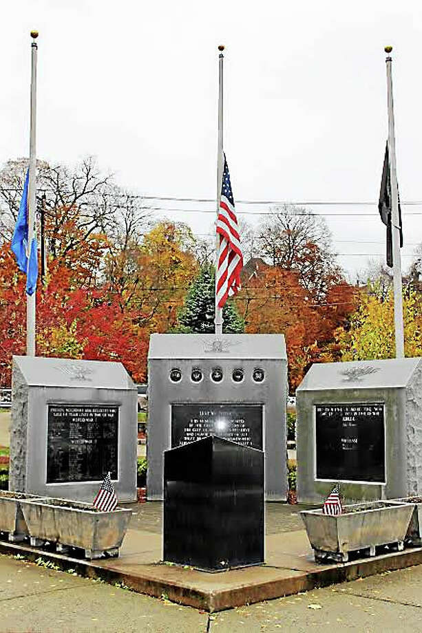 Ansonia marked Veterans Day with a ceremony Wednesday. (Jean Falbo-Sosnovich - New Haven Register) Photo: Journal Register Co.