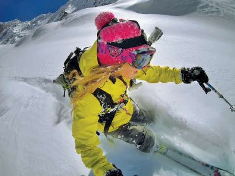 This undated product image shows the GoPro digital camera mounted on a ski helmet, a hot item on ski slopes and other settings.