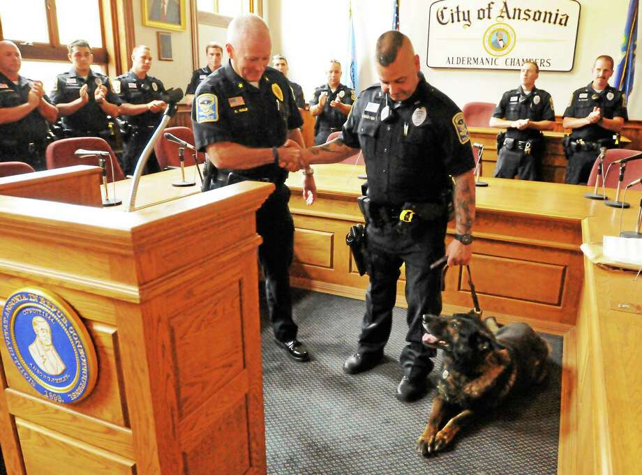 Ansonia Police Chief Kevin Hale, left, and the Ansonia  Police Department honors Thor. The dog retired in 2014 after more than nine years on the force.  Thor patrolled city streets with his partner, Officer Steve Martins, right, since they graduated from the Police Academy in 2005. Hamden, New Haven, and North Haven police dog handlers were present at the ceremony including other area K-9 Units. Photo: (Peter Hvizdak - New Haven Register)  / ©Peter Hvizdak /  New Haven Register