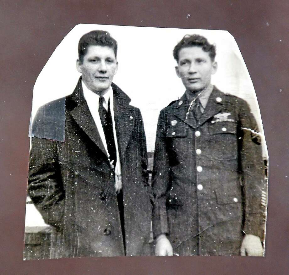 """(Arnold Gold-New Haven Register)  Tony Bachleda and his brother, John, are featured in their brother Steven Bachleda's book, """"Portrait of an Immigrant."""" Photo: Journal Register Co."""
