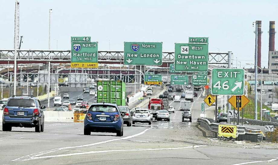 (Peter Hvizdak - New Haven Register)In a photograph made on  Tuesday, May 10, 2016, I-95 goes northbound past exit 46 to exit 48 where, sometime in the middle of July 2016, there will be an I-95 northbound shift in traffic to the left as the main artery towards the Pearl Harbor Memorial Bridge and I-91 northbound will shift to a two lane connection at exit 48 to I-91 northbound towards Hartford. Photo: ©2016 Peter Hvizdak / ©2016 Peter Hvizdak