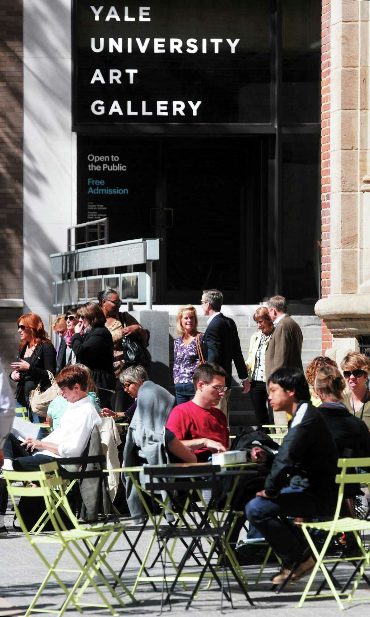 (Mara Lavitt - New Haven Register) September 24, 2013 New Haven. On a beautiful September day, the cafe tables outside the Yale Art Gallery were packed at lunchtime.