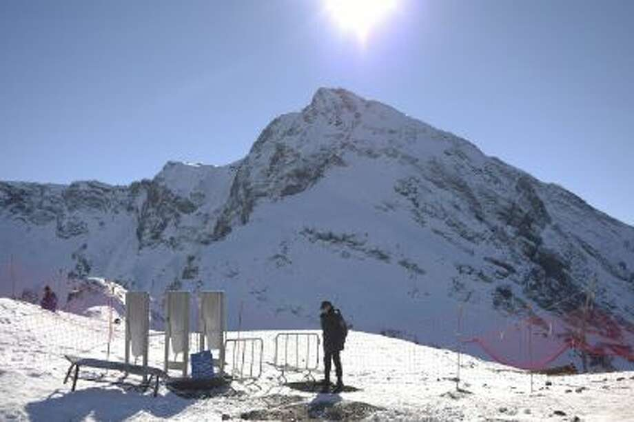 A view of Coucasus mountain and Krasnaya Polyana is seen on Nov. 19 from the Gornaya karuse ski resort in Krasnaya Polyana, Russia.