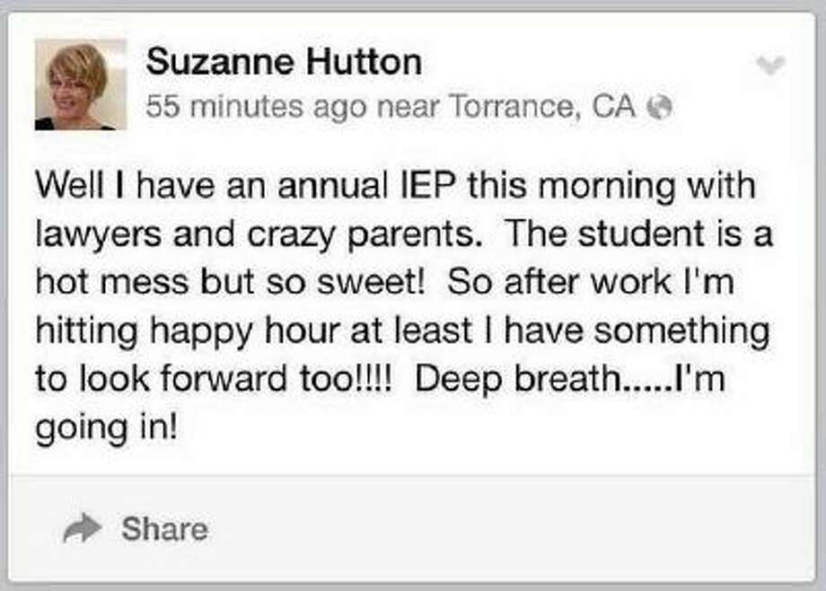 The Facebook posting by Torrance special education teacher Suzanne Hutton.