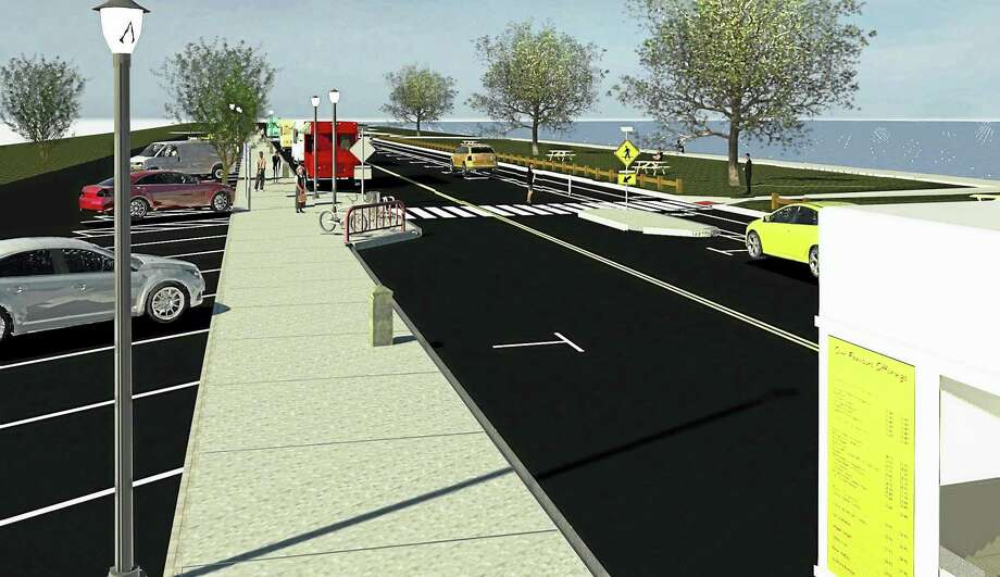 Rendering of infrastructure proposed for Long Wharf Drive with improved parking area for the public, as well as the food trucks. It shows new crossing area with pedestrian island. Along the New Haven Harbor side, there will be a two-way cycle track. (Contributed) Photo: Journal Register Co.