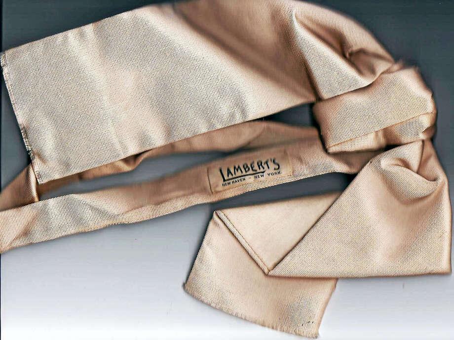 A formal tie from Lamberts. Perhaps JWB's wedding ascot. Paul Keane Photo: Journal Register Co.