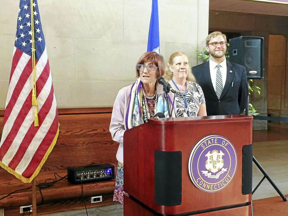 U.S. Rep. Rosa DeLauro spoke at Union Station in New Haven this week, touting commuter tax benefits. She was joined by Douglas Hausladen, the city's director of transportation, traffic and parking and Amie Fanning, publications services coordinator at Gateway Community College. (Wes Duplantier/The New Haven Register) Photo: Journal Register Co.