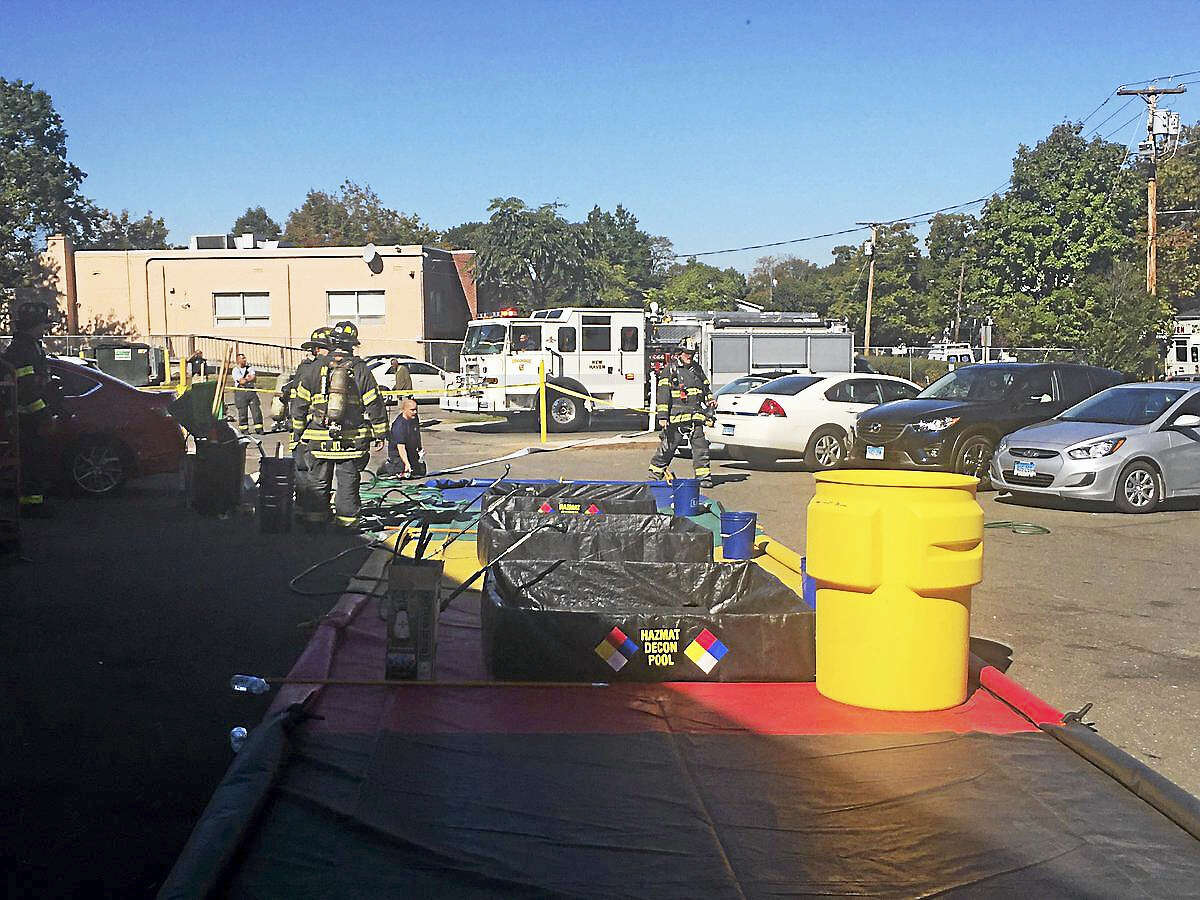 (Photo courtesy of the New Haven Fire Department)Firefighters were inside an apartment at 70 Fairmont Ave. early Friday afternoon, working to identify an unknown substance there.