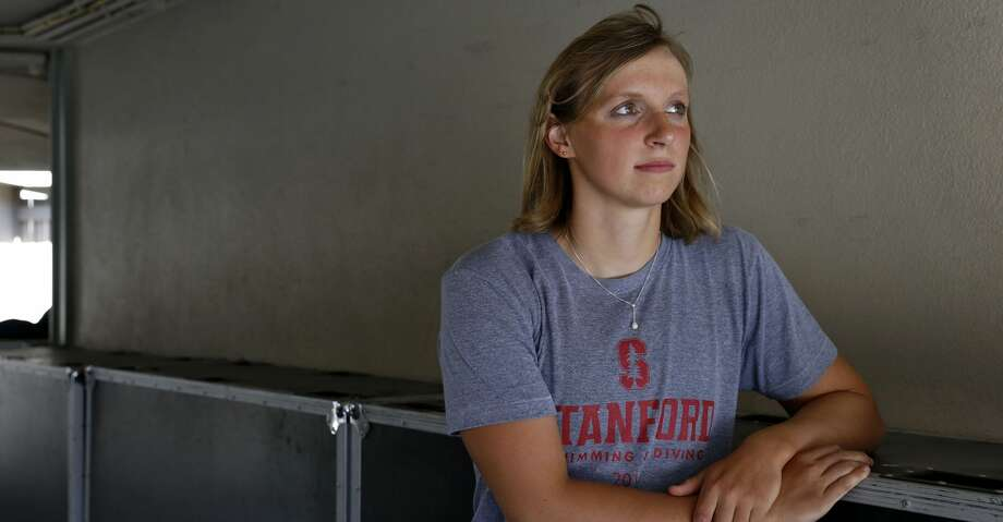 Katie Ledecky before competing in the Pro Swim Series at the Santa Clara Swim Club in California, June 1, 2017. Ledecky, a five-time medalist in the 2016 Rio Games, has formed a bond with Chris Olmstead, who emerged from the 1960 Summer Olympics with four medals, including three golds under her maiden name, von Saltza. (Preston Gannaway/The New York Times) Photo: PRESTON GANNAWAY/NYT