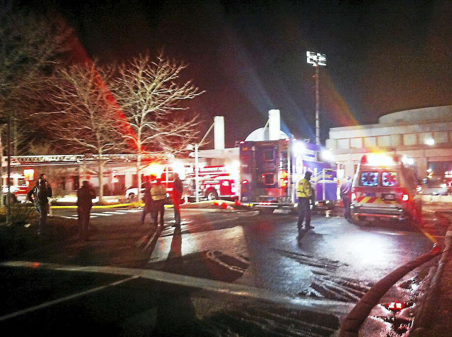The scene outside the JCC in Woodbridge. The building was evacuated after a fire. Photo: Digital First Media