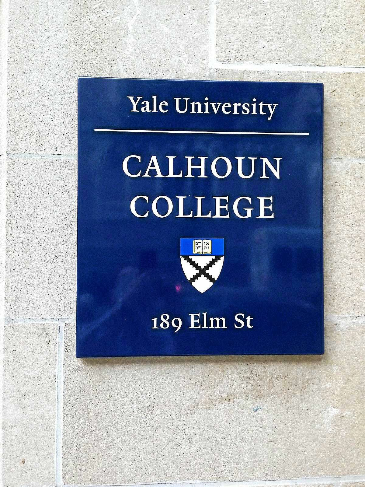 (Ed Stannard - New Haven Register) The sign at Calhoun College at Yale University in New Haven