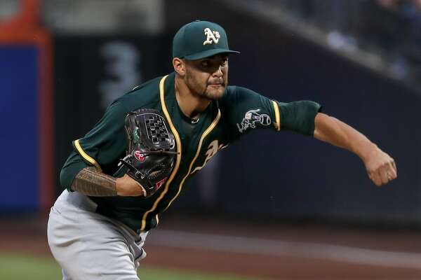 Oakland Athletics starting pitcher Sean Manaea delivers against the New York Mets during the first inning of a baseball game, Saturday, July 22, 2017, in New York. (AP Photo/Julie Jacobson)