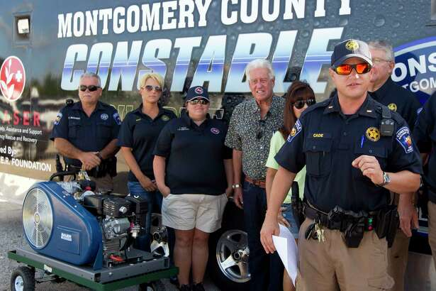 Lt. Tim Cade with the Montgomery County Precinct 1 Constable's Office speaks near Lake Conroe during a press conference, Thursday in Conroe.