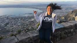 Brianna Diaz, 19, enjoys the view after she completed the hike up Table Mountain in Cape Town, South Africa, during her six-week immersion in Durban, South Africa this summer. She'll be a junior this fall, enrolled in the UTSA Top Scholars program, which has a study abroad requirement. Diaz, who is majoring in psychology with minors in both math and civic engagement, opted for the School for International Trainings six-week education program in South Africa.