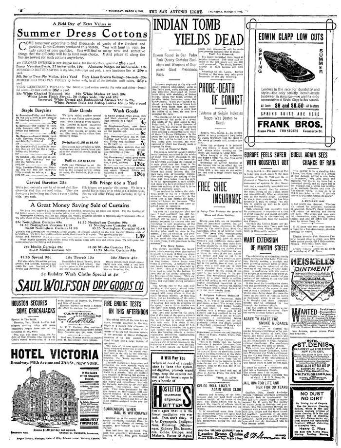 """A story on page 2 of the Thursday, March 4, 1909, edition of the San Antonio Light details the human remains and weapons of a """"giant prehistoric race"""" found in what was called """"an Indian tomb."""" The cavern was discovered by workers doing blasting work at the rock quarry north of San Pedro Park. Photo: File /"""