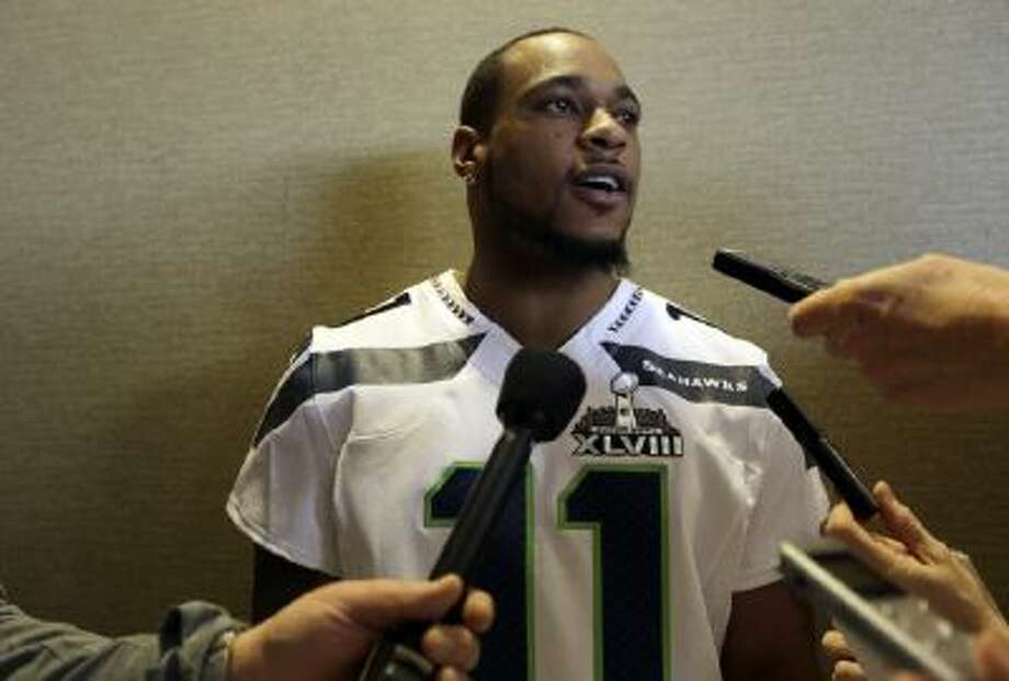 Seattle Seahawks wide receiver Percy Harvin answers questions during a media availability Wednesday in New Jersey.