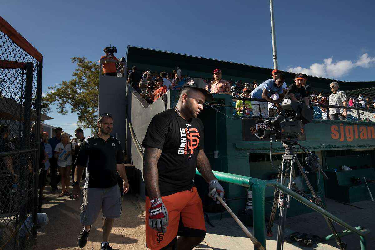 Pablo Sandoval after batting practice heads to the lockers before his first game for the San Jose Giants as a designated hitter on Saturday, July 22, 2017 in San Jose, CA.
