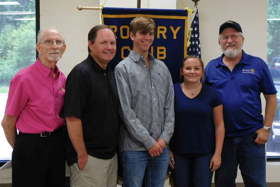 """Members of the Cleveland Rotary Club were honored to be visited by two local recipients of the club's scholarships. Natalie Felts of Cleveland High School and David McCall III (Trai) of Tarkington High School told members how much the scholarship money meant for their education and informed the club of their future plans. Neither student is entering college as a """"freshman"""" – both have completed hours of dual college credits along with their high school classes to give them a head start on the challenges of college life. The Rotary Club scholarship fundraiser will be held again this fall to benefit graduating seniors of both Cleveland and Tarkington High Schools. Pictured (left to right) are Rotarian Tommie Daniel, Rotary President Scott Lambert, scholarship recipients Trai McCall and Natalie Felts, Rotarian Larry Middleton. Photo: Submitted"""