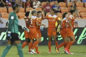 Houston Dash players celebrate Nichelle Prince's goal during the first half of the game at BBVA Compass Stadium Saturday, July 22, 2017, in Houston. ( Yi-Chin Lee / Houston Chronicle )