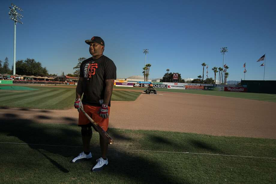 Pablo Sandoval poses for a portrait before his first game for the San Jose Giants as a designated hitter on Saturday, July 22, 2017 in San Jose, CA. Photo: Paul Kuroda, Special To The Chronicle