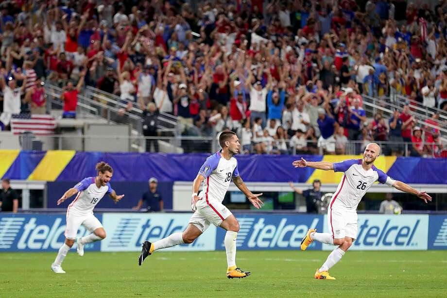 ARLINGTON, TX - JULY 22: Clint Dempsey #28 of United States celebrates with Graham Zusi #19 of United States and Michael Bradley #26 of United States after scoring against Costa Rica during the 2017 CONCACAF Gold Cup Semifinal at AT&T Stadium on July 22, 2017 in Arlington, Texas.  (Photo by Tom Pennington/Getty Images) Photo: Tom Pennington, Getty Images