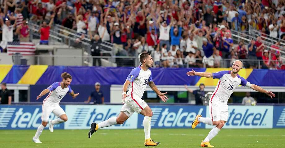 ARLINGTON, TX - JULY 22: Clint Dempsey #28 of United States celebrates with Graham Zusi #19 of United States and Michael Bradley #26 of United States after scoring against Costa Rica during the 2017 CONCACAF Gold Cup Semifinal at AT&T Stadium on July 22, 2017 in Arlington, Texas.  (Photo by Tom Pennington/Getty Images) Photo: Tom Pennington/Getty Images