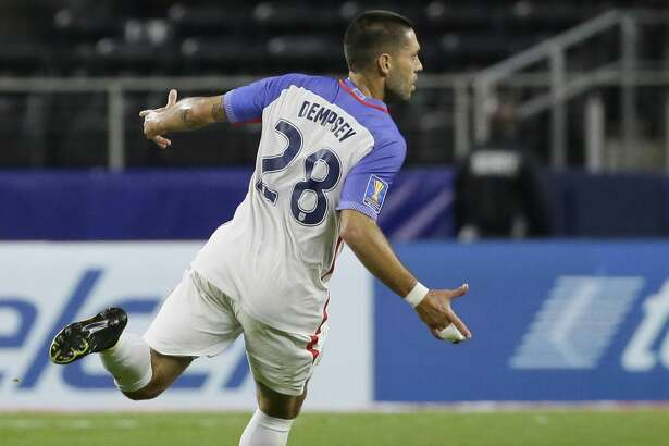 United States' Clint Dempsey celebrates after scoring a goal against Costa Rica during a CONCACAF Gold Cup semifinal soccer match in Arlington, Texas, Saturday, July 22, 2017. (AP Photo/LM Otero)