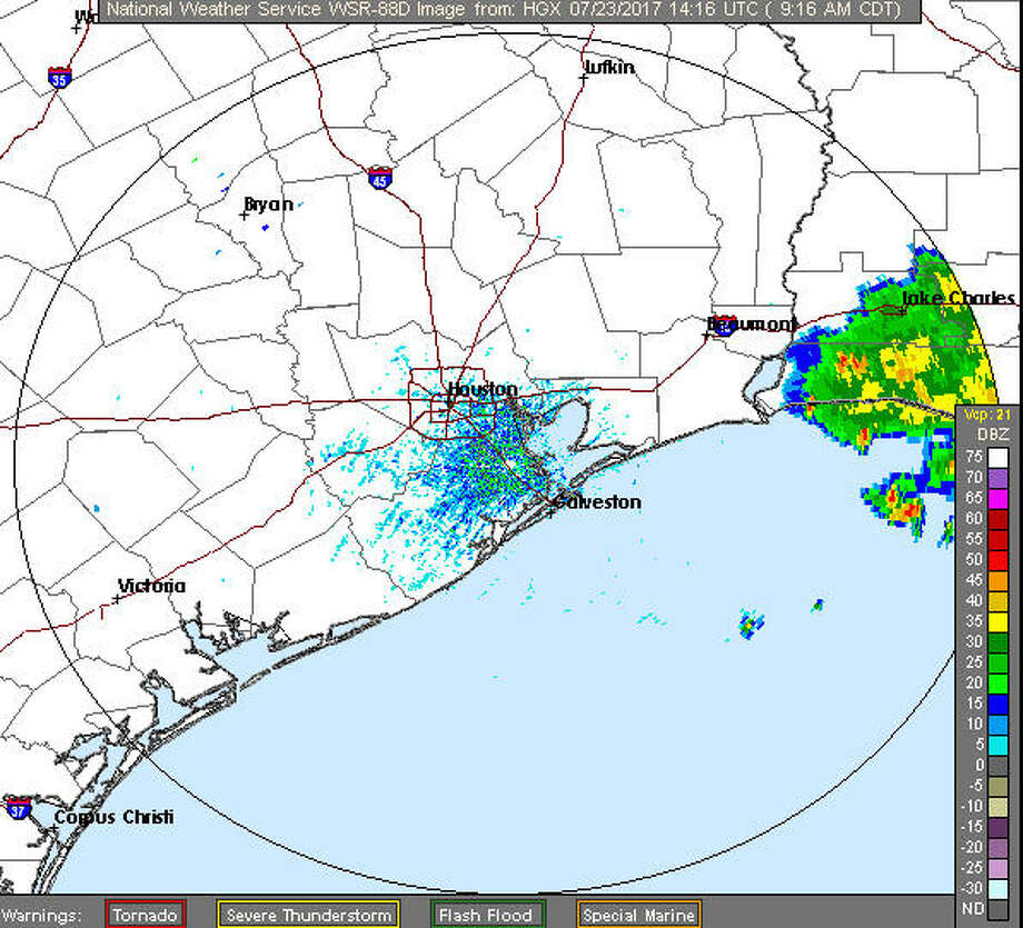 The NWS radar shows storms in Louisiana, which could be headed for the Houston area. Photo: NWS