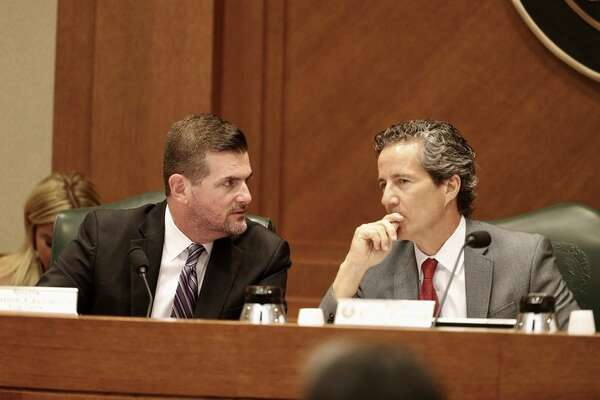 ONE TIME USE ONLY State Sens. Brandon Creighton, R-The Woodlands, and Kelly Hancock, R-North Richland Hills, at a Business & Commerce committee hearing on Saturday.   Bob Daemmrich for The Texas Tribune