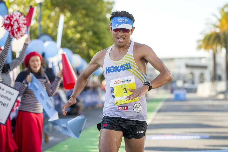 Jorge Maravilla finishes first place in the San Francisco Marathon on Sunday, July 23, 2017, in San Francisco, Calif. Maravilla finished the full marathon with an unofficial time of 2:28:22 and an average of 5:40 minutes per mile.