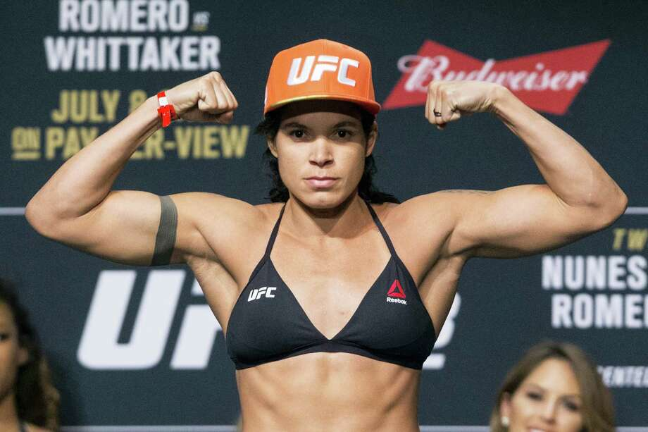 Amanda Nunes poses during the UFC 213 ceremonial weigh-ins on Friday in Las Vegas. Photo: Erik Verduzco — Las Vegas Review-Journal Via AP   / Las Vegas Review-Journal