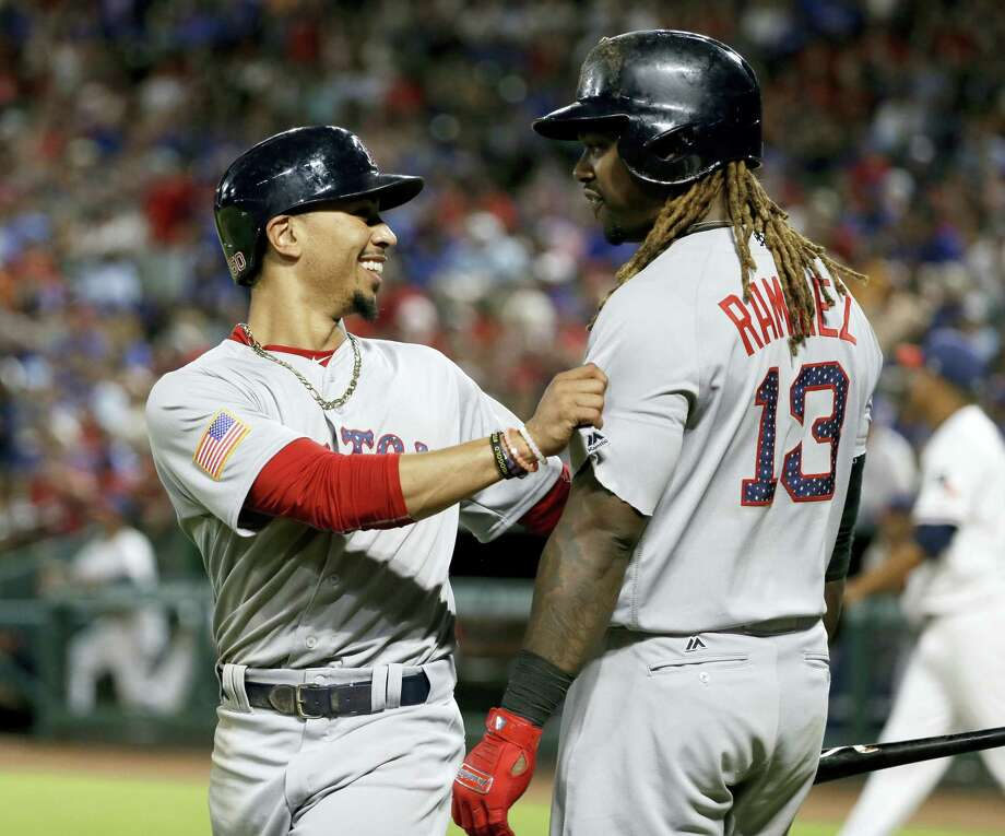 Mookie Betts, left, Hanley Ramirez and the Red Sox are in control of the AL East as baseball hits the All-Star break. Photo: The Associated Press File Photo   / Copyright 2017 The Associated Press. All rights reserved.