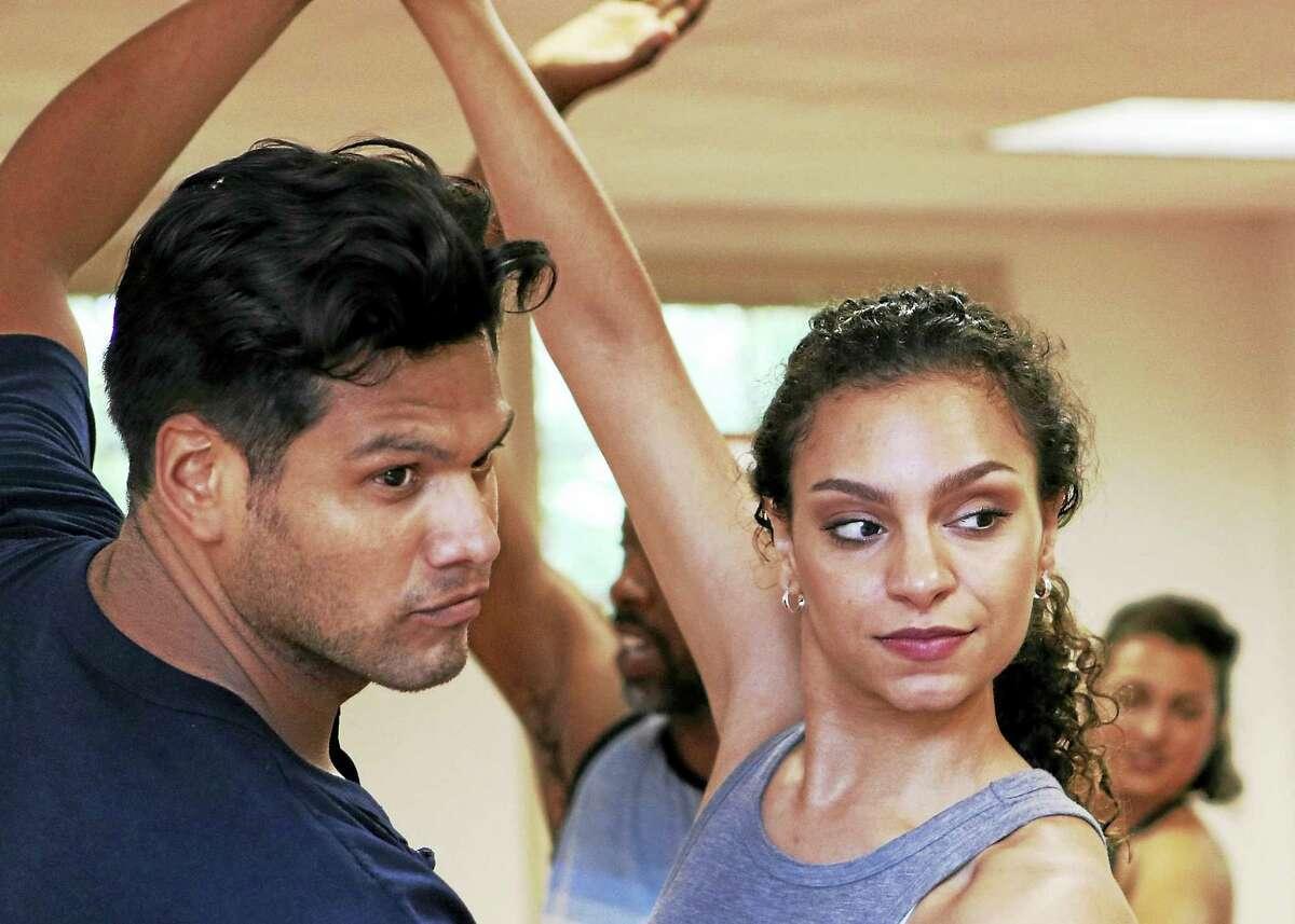 Victor Borjas (Bernardo) and Natalie Madlon (Anita) rehearse recently.